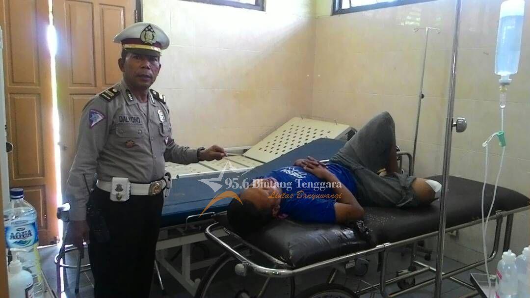 Farid, korban selamat yang terlibat kecelakaan, saat di rawat di RSUD Genteng