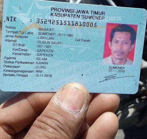 Identitas Korban atas nama Masa'at (36) asal Dusun Saur I RT 01 RW 01, Desa/ Kecamatan Sapeken, Kabupaten Sumenep.