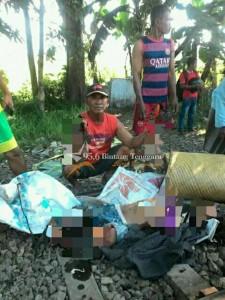 Kondisi Korban yang tertabrak Kereta Api (KA) Mutiara Timur relasi Banyuwangi - Surabaya di kilometer 75 Rejoso, Pasuruan, Minggu (3/9) (Foto. Mas Robby)