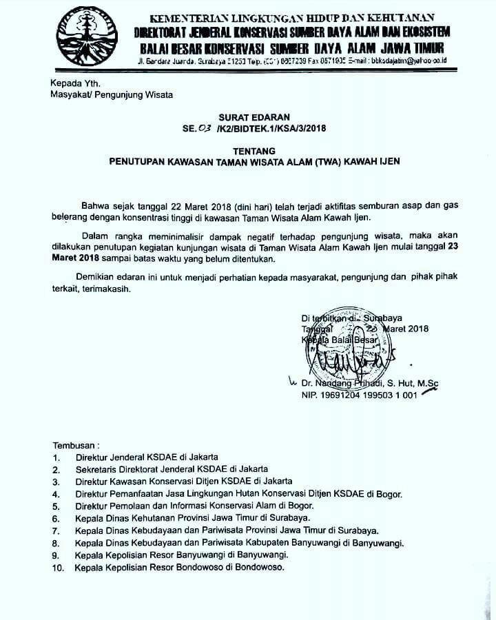 Pers Rilis yang di Keluarkan Pos Pengamatan Gunung Api (PPGA), Bidang Konservasi Sumber Daya Alam (BKSDA) wilayah Jawa Timur. (Foto. Eka Muharam)